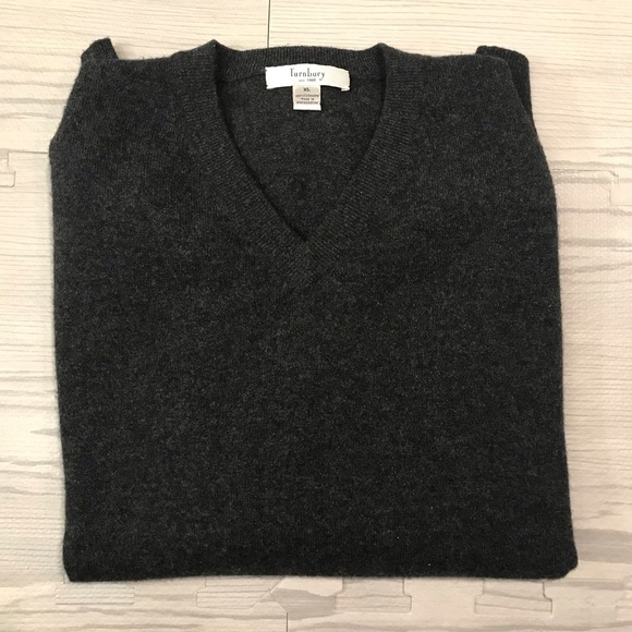 Turnbury Other - Men's 100% cashmere dark gray v-neck sweater sz XL